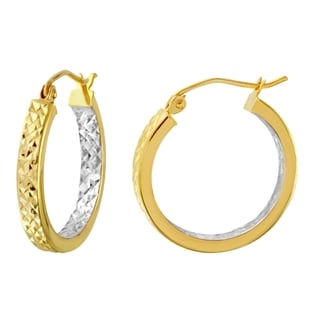 10k Two Tone Gold In and Out Diamond-cut 3mm Flat Hoop Earrings