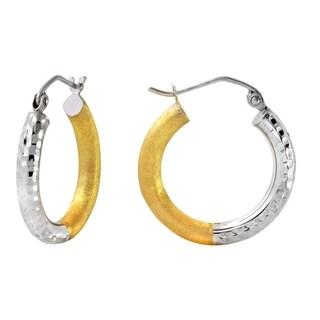 10k Two-tone Gold 3mm Hammered Matte Hoop Earrings