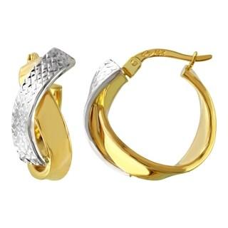 14k Two-tone Gold Twist Hoop Earrings