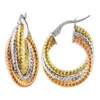 14k Italian Tri-Color Gold Diamond Cut Trio Overlapping Hoop Earrings