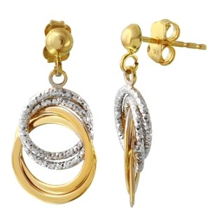 14k Two Tone Gold Circle Dangle Earrings