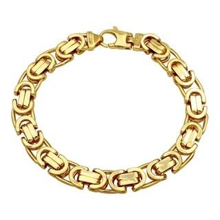 14K Yellow Gold Men's 10.8mm Fancy Cuban Bracelet