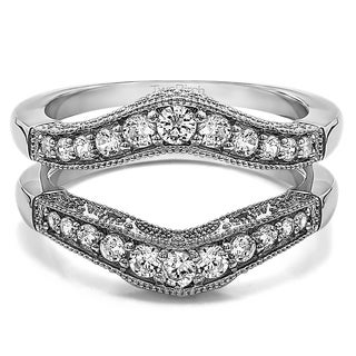 Sterling Silver 3/4ct TW White Sapphire Vintage Style Filigree and Milgrain Contour Ring Guard