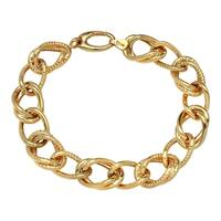 14k Yellow Gold Satin and High Polished Link Bracelet