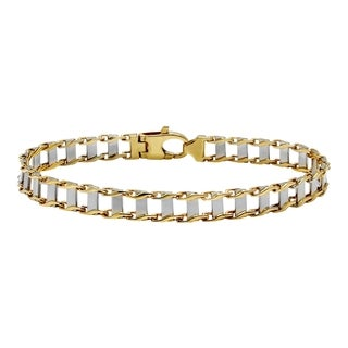 14k Two Tone Gold Men's Railroad Bracelet