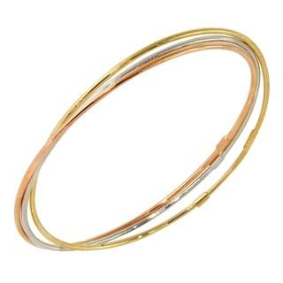 14k Tri-color Gold 3-piece Slip-on Bangle Bracelet