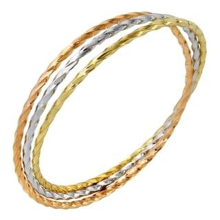 14k Tri-Color Gold Set of 3 Twist Slip-On Bangle Bracelet