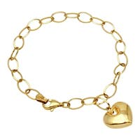 14k Yellow Gold Heart Charm Bracelet