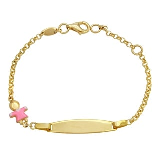 14k Yellow Gold Enamel Baby 6-inch Engravable ID Bracelet