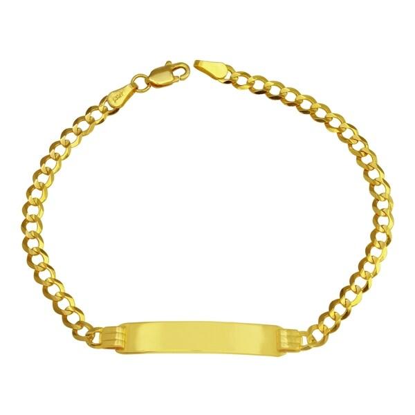 14k Yellow Gold Curb Link Boy X27 S Id Bracelet