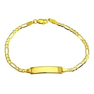 14k Yellow Gold Figaro Baby ID Bracelet