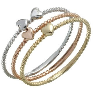 14k Tri-Color Gold Twisted Rope Interlocking Stackable Rings