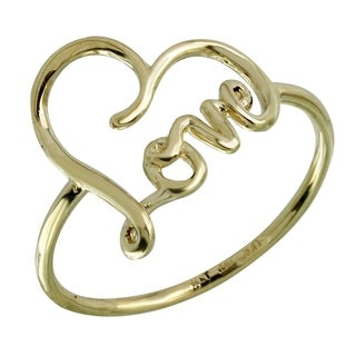 14k Italian Gold 'Love' Ring (Option: Pink)