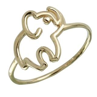 14k Italian Gold Elephant Ring (Option: Pink)