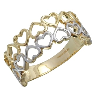 14k Two-tone Gold Hearts Ring