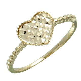 14k Two-tone Gold Textured Heart Ring
