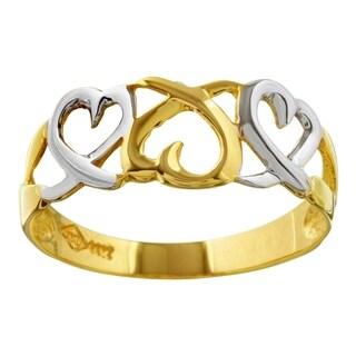 14k Two-tone Gold Three-Hearts Ring