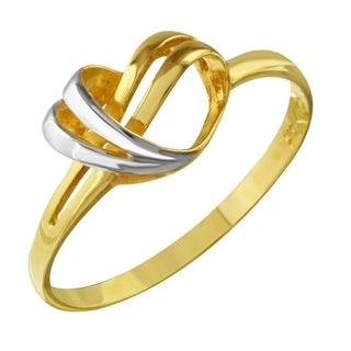 14k Two-tone Gold Twisted Heart Ring