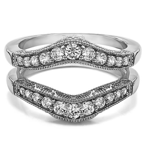 Sterling Silver 3/4ct TW Cubic Zirconia Vintage Filigree and Milgrain Contour Ring Guard