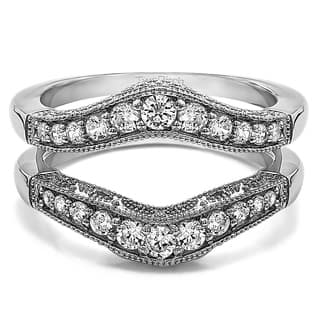 sterling silver 34ct tw cubic zirconia vintage filigree and milgrain contour ring guard - Wedding Ring Wraps