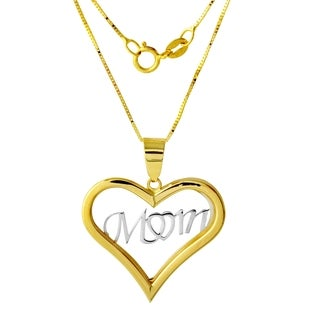 14k Two-tone Gold Heart 'Mom' Pendant Necklace