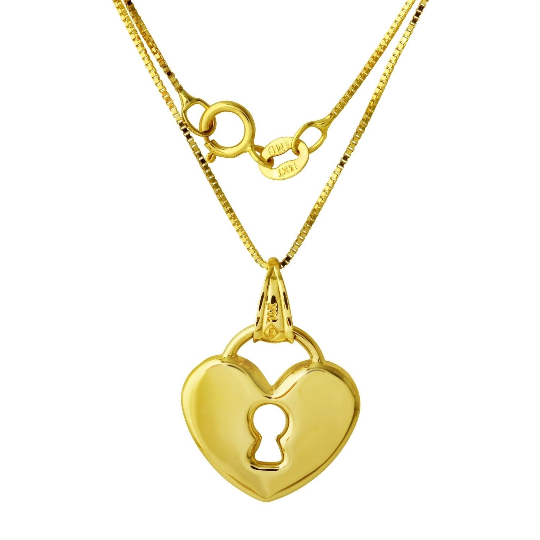 14k Yellow Gold Heart Lock Pendant