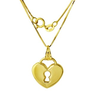 14k Gold Heart Lock Pendant Necklace