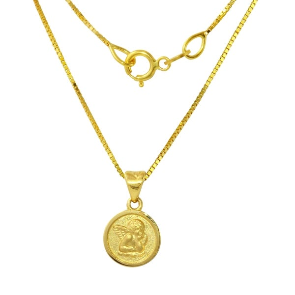 14k yellow gold angel pendant necklace free shipping today 14k yellow gold angel pendant necklace aloadofball Choice Image