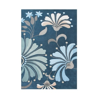 Alliyah Handmade New Zealand Blend Wool Transitional Blue Floral Rug ( 5' x 8' )