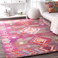 The Curated Nomad Noriega Handmade Tribal Pink Diamond Area Rug - 7'6 x 9'6