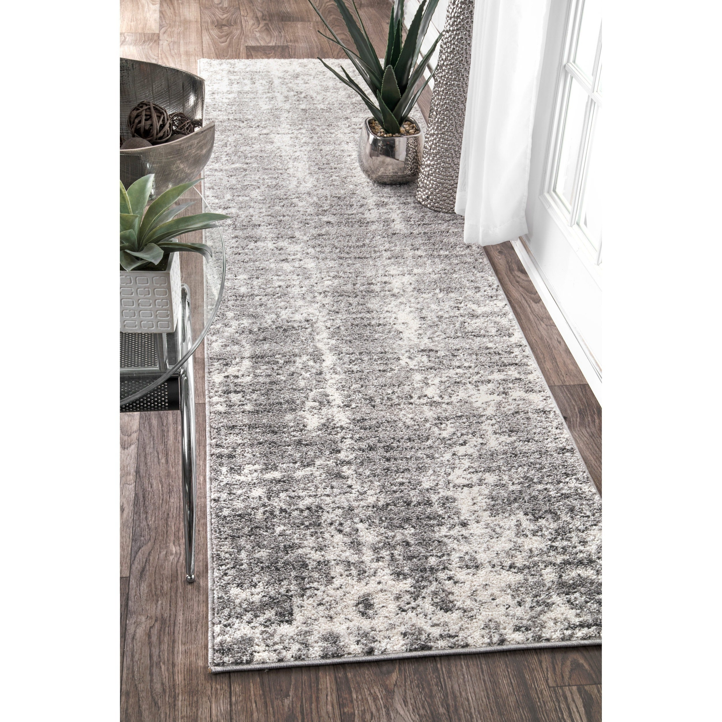 c520459a1ce560 Thumbnail nuLOOM Contemporary Faded Mist Shades Grey Runner Rug (2  x27 ...