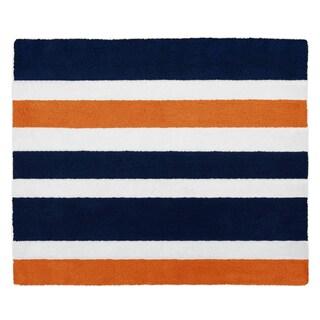 Sweet Jojo Designs Floor Rug for the Navy Blue Orange Stripe Collection