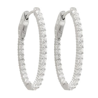 Luxiro Sterling Silver Cubic Zirconia 31x20-mm Oval Hoop Earrings - White