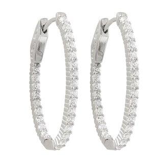 Luxiro Sterling Silver Cubic Zirconia 31x20-mm Oval Hoop Earrings