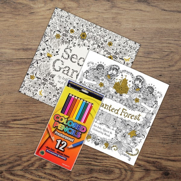 Adult Coloring Books and Colored Pencil Set