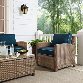 Link to Bradenton Outdoor Wicker Arm Chair with Navy Cushions (As Is Item) Similar Items in As Is