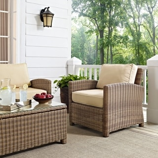 Link to Bradenton Outdoor Wicker Arm Chair with Sand Cushions Similar Items in Outdoor Sofas, Chairs & Sectionals