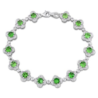 Miadora Signature Collection 14k White Gold Tsavorite and 1ct TDW Diamond Beaded Tennis Bracelet (G-H, SI1-SI2)