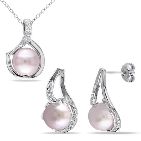 Miadora Sterling Silver Cultured Freshwater Pink Pearl 1/10ct TDW Diamond Swirl Necklace and Earrings Set (G-H, I2-I3)
