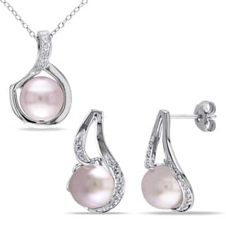 Miadora Sterling Silver Cultured Freshwater Pink Pearl 1/10ct TDW Diamond Swirl Necklace and Earrings Set (G-H, I2-I3)|https://ak1.ostkcdn.com/images/products/14790688/P21311159.jpg?impolicy=medium