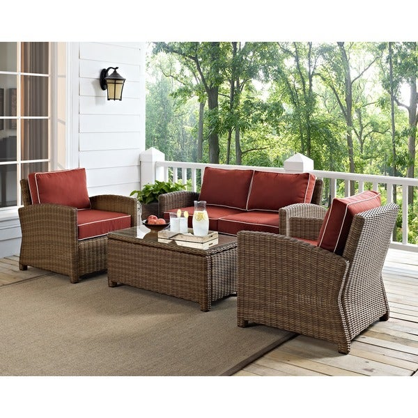 Discount Furniture Stores Online Free Shipping: Shop Bradenton 4-piece Outdoor Wicker Seating Set With