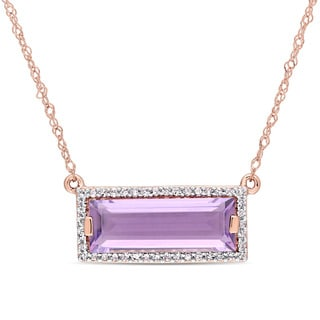 Miadora Signature Collection 14k Rose Gold African Amethyst 1/8ct TDW Diamond Bar Necklace
