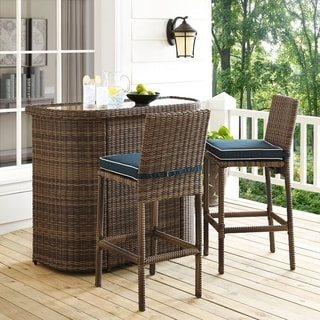 Bradenton Outdoor Brown Wicker 3-Piece Bar Set with Navy Cushions