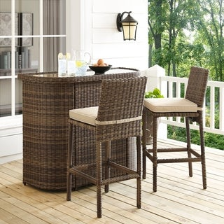 Bradenton Outdoor Brown Wicker 3-Piece Bar Set with Sand Cushions