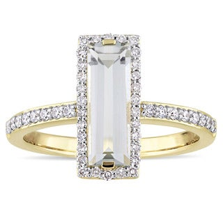 Miadora Signature Collection 14k Yellow Gold Green Amethyst and 1/3ct TDW Diamond Statement Ring (G-H, I1-I2)