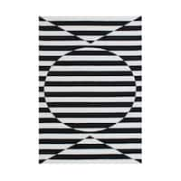 Alliyah Handmade New Zealand Blend Wool Contemporary Black Geometric Rug - 5' x 8'