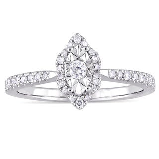 Laura Ashley 1/3ct TDW Marquise-Cut Diamond Halo Slender Band Engagement Ring in Sterling Silver