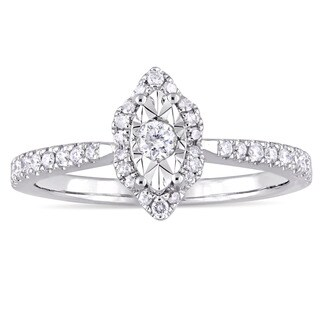 Laura Ashley 1/3ct TDW Marquise-Cut Diamond Halo Slender Band Engagement Ring in Sterling Silver - White