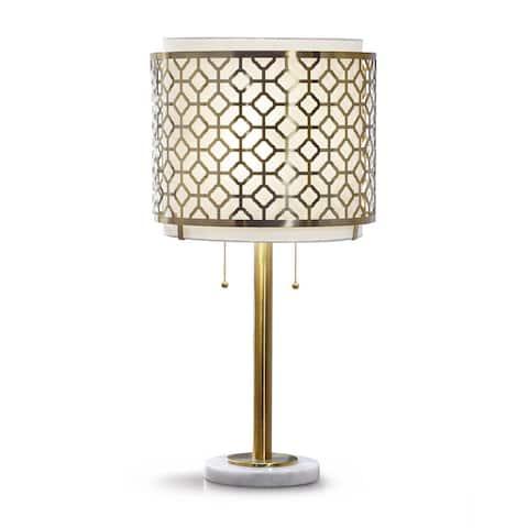 Melrose Geometric Antique Bronze Table Lamp