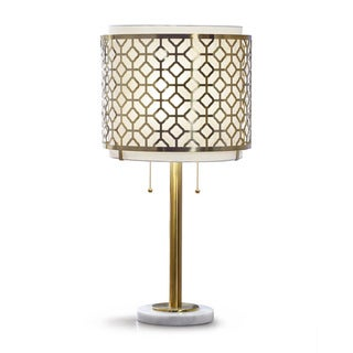 Melrose Geometric Antique Bronze Table Lamp